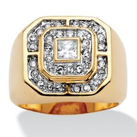 Men's Princess-Cut and Round Cubic Zirconia 14k Gold-Plated Octagon-Shaped Ring