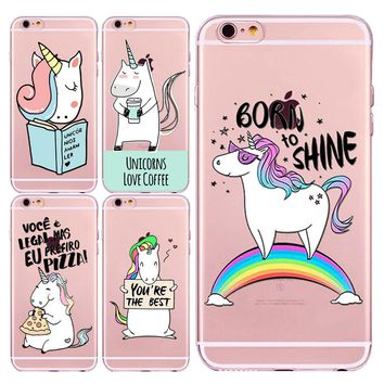 Transparent Soft Unicorn Cute Angel Lovely Unicorn Horse Pattern Cases For iphone 5 5s SE 6 6s Case 7 7plus 6Plus 6sPlus Fondas