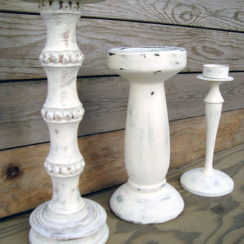 Shabby Chic Antique White Painted Candle Holders, Set of 3 Off White Painted Candlestick Holders, Tall Candleholder, Up Cycled Home Decor