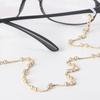 Thin Glasses Holder with gold twin ball chain