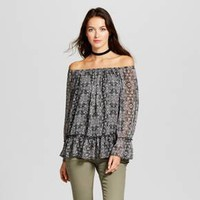 Women's Lurex Stripe Printed Off the Shoulder Top - Knox Rose™