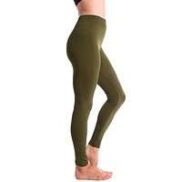 Ultra-Soft Seamless Fleece Lined Leggings in Olive Green