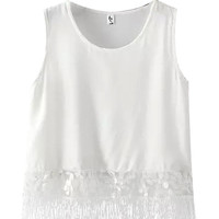 White Sequined Sleeveless Blouse with Tassel Hem Detail