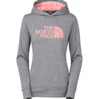 The North Face Fave Pullover Hoodie for Women in Grey Heather and Neon Peach A6S1-GDJ
