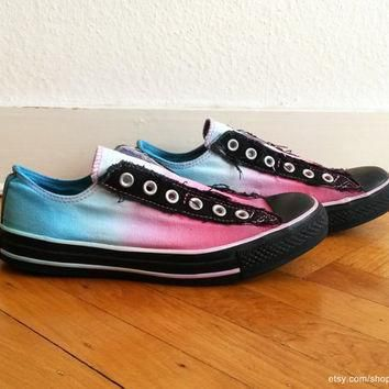 multi coloured ombre converse ice blue pink slip on sneakers upcycled vintage di