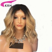 1b/27 Ombre Blonde Brazilian Remy Human Hair Lace Front Wigs for Women With Baby Hair Ombre Color Human wig KRN