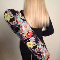 Handmade Large Yoga or Pilates Mat Bag, Black with Beautiful Floral Print. Large Pocket with velcro closure - READY TO SHIP