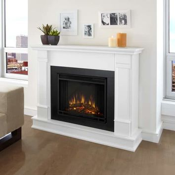 Real Flame Silverton White 48 in. L x 13 in. D x 41 in. H Electric Fireplace | Overstock.com Shopping - The Best Deals on Indoor Fireplaces