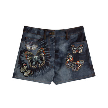 Denim Shorts with Embroidered Butterflies - Valentino | WOMEN | KR STYLEBOP.COM