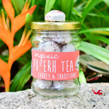 Organic Pu-erh Tea in a JAR 15pc. / Traditional Chinese Tea / Organic Tea / Fair-trade Tea / Naturally Sourced Tea / Herbal Tea / Health Tea