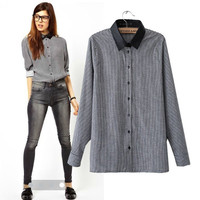Long Sleeve Plaid Shirt Collar Blouse