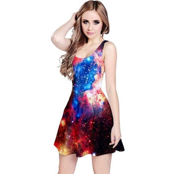 Galaxy Reversible Sleeveless Dress - Supernova, Nebula