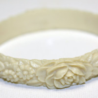 Vintage Carved Flower Celluloid Bangle Bracelet by patwatty