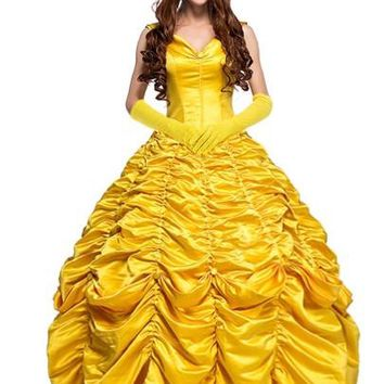 Disney's Belle Ruffled Yellow Sleeveless Women's Dress