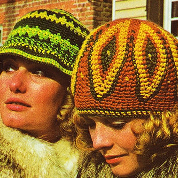 2 Crochet Patterns Feather pattern hat floppy Beanie Hat 70s hat pattern PDF Instant Download supplies epsteam brown crochet hat pattern vtg