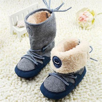 PEAPGB2 0-18Months Baby Boy Winter Warm Snow Boots Lace Up Soft Sole Shoes Infant Toddler Kids