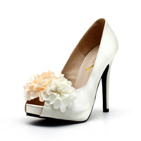 Ivroy White Satin Wedding Shoes with Fabric Flowers