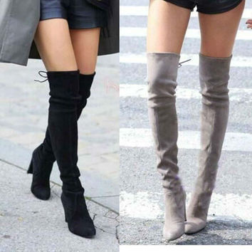 Women Faux Suede Thigh High Boots Over the Knee Boots Stretch Sexy Overknee High Heels Woman Shoes Black Khaki