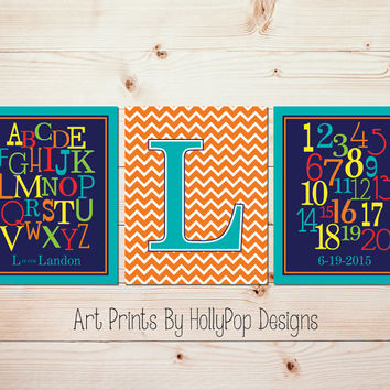Bright colorful nursery art prints Baby boy nursery wall art Alphabet number prints Personalized monogram art Modern boy nursery decor #1376