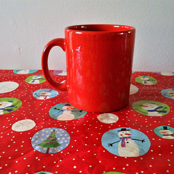 Red Waechtersbach Christmas Mug, Plain Red Waechtersbach Germany Coffee Mug