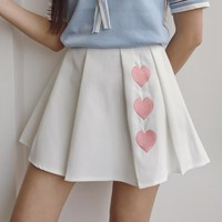 Harajuku Style Heart Embroidery Pleated High Waist Skirt