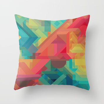 VIBRANT ABSTRACT MULTI COLOR GEOMETRIC PATTERN GRAPHIC Throw Pillow by AEJ Design