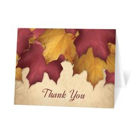 Rustic Burgundy Gold Autumn Thank You Cards
