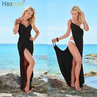 HAOYUAN Summer Sexy Maxi Dress 2017 Spaghetti Strap Sundress Elegant Women Bandage Dresses Off Shoulder Boho Long Beach Dress