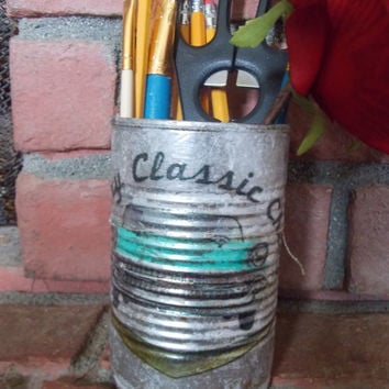 Father's Day! American Car Oil Gas Tin Can Art Metal Organizer Office Tools Garage Pencils Floral Upcycled  Home Decor Fathers Day Gift