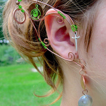 Pair of Copper Goblin Inspired Elf Ear Cuffs, Renaissance, Elven, Hobbit, Elf, Fantasy Ear Wraps, World of Warcraft