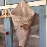 Vintage seed sack large cone, shabby chic decor, herb basket cone, rustic decor, vintage sacks