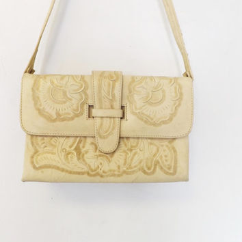 Vintage Avelars Products Deer White Tan Leather Engraved Aztec Southwestern Floral Rose Purse Embossed tooled bag Mexican Satchel Boho Indie