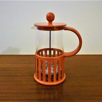 Vintage 1980s Peach Bodum French Press Four (4) Cup Coffee Maker / Light Red / Retro French Press / made in Denmark