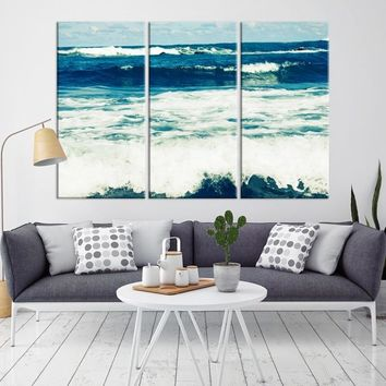 53296 - White Strong Waves on the Ocean Wall Art Large Canvas Print