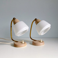 Mid Century Modern Table Lamps Pair  Beige Opal by mungoandmidge