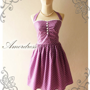 Once Upon a Time Vintage Inspired Bella Purple Polka Dot Halter Neck Dress for Prom Wedding Bridesmaid Everyday -Size S-