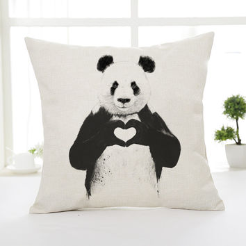 "18"" Square Decorative Linen Cotton Throw Pillow Case Panda"