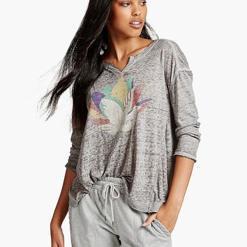 Lucky Brand Birds Tee Womens - Steel Heather