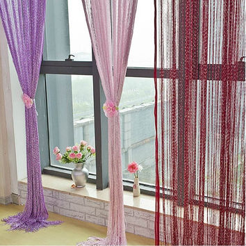 Special Silver Silk String Curtain Living Room/Door Partition Sheer Curtain = 1958023684