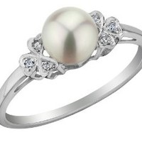 Cultured Freshwater Pearl Ring with Diamonds in 10K White Gold, Size 6