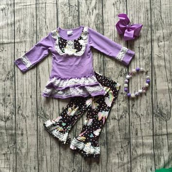 baby Girls Fall clothes girls children laverder unciorn top with unicorn print black ruffle pants clothing with accessories