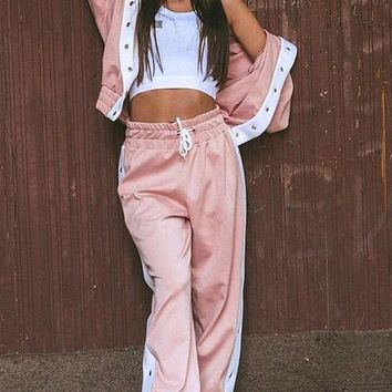 New Pink Patchwork 2-in-1 Drawstring Buttons Hooded Streetwear Long Jumpsuit