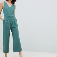 Selected V Neck Jumpsuit With Pleat Detail at asos.com