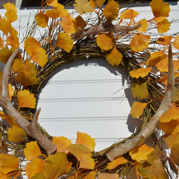 Fall Aspen Wreath Antlers