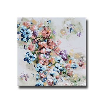 GICLEE PRINT Art Abstract Floral Painting Colorful Navy Blue White Pink Flowers Sweetpea Wall Decor