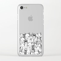 just alpacas black white Clear iPhone Case by Sharon Turner