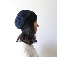 Navy Blue Slouchy Hat, Women Knit Hat, Mens Slouchy Beanie, Hand Knit Chunky Slouch Hat, Wool Blend, Winter Accessories, Made to Order