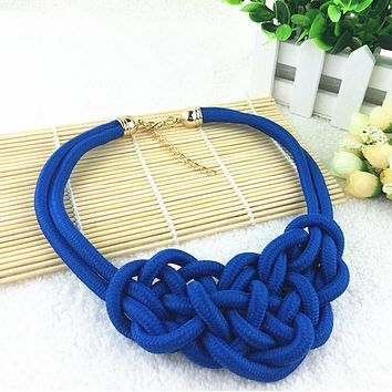 Hot Sale Cotton Choker Statement Necklace Collares Necklaces & Pendants Women Gift Kolye Fashion Jewelry