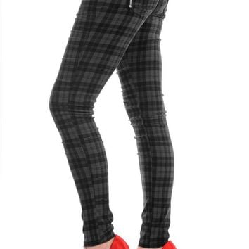 Banned Punk Rock Funky Plaid Check Skinny Jeans