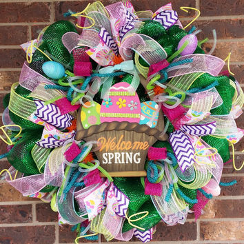 Spring Welcome Deco Mesh Wreath